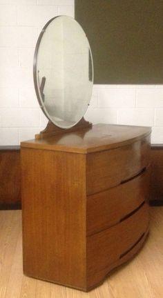 Vtg Mid Century Modern Art Deco Dresser w Mirror Danish Style Solid Walnut Bowed