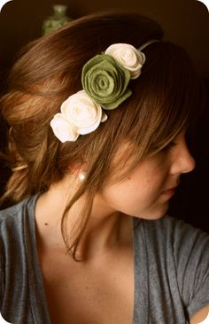Favorite  Like this item?    Add it to your favorites to revisit it later.  Rose Felt Headband (Adult) - Ivory and Sage Flowers