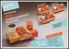 McDonalds Trayliner Placemat - Chicken McNuggets Value Packs Meals - 1985   Flickr - Photo Sharing!
