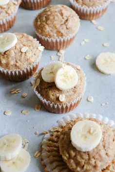 This quick and easy recipe for Banana Oat Muffins comes with nutritional information and weight watcher& points. Banana Recipes, Ww Recipes, Muffin Recipes, Baby Food Recipes, Sweet Recipes, Breakfast Recipes, Dessert Recipes, Ww Desserts, Oats Recipes