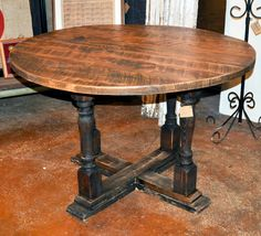 Antique Beech Round Dining Table by DohlerDesigns on Etsy