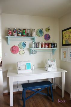 BeingBrook: Craft Room Art {Home Decor}  dowel shelves would be fun way to display washi tape
