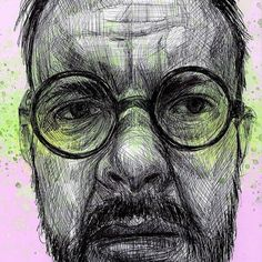 Midweek sketch for the sktchy drawing challenge! Feeling happy.... so injecting some yellow and pink. how awesome are those glasses! via @curiousinkyme Ballpoint Pen Drawing, Drawing Challenge, Mens Glasses, Ink, Drawings, Artwork, Pen Drawings, Work Of Art, Auguste Rodin Artwork