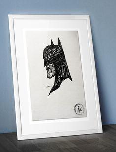 Batman face - Comic Style Ink Drawing, paper, portrait, pen, marker artwork by ARTandROLL on Etsy