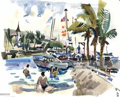 Beachgoers and boats, spire of a church, watercolor painting, by artist Rex Brandt, a cubist and member of the California Watercolor movement, Hawaii, 1976.
