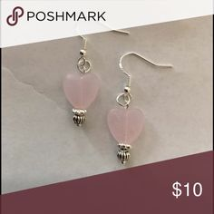 Dainty pink stone ❤️ earrings Handmade by me, new never worn dainty pink stone hearts 💕 on .925 Sterling silver hooks. Jewelry Earrings