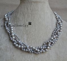 Gray Pearl Necklace,Wedding Pearl Necklace, 4 Rows 5-8mm Gray Genuine Fresh Water Pearl Necklace, Bridesmaids Necklace - Free Shipping