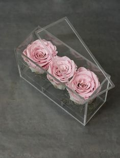 Flowers of Soul: 3 trandafiri nemuritori in cutie transparenta