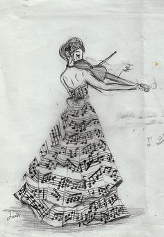 Music note dress. It is beautiful though the violin does not hold like that and the neck of the violin is to long