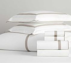 Morgan Banded 400-Thread-Count Organic Percale Pillowcases - Set of 2 | Pottery Barn