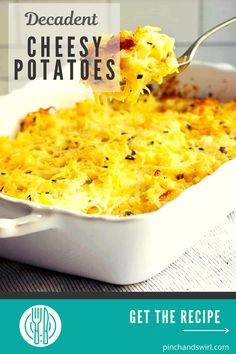 Easy Cheesy Potatoes are easy to make from scratch! This decadent casserole is baked in the oven and makes the perfect side for get togethers with family and friends and holidays too! No canned soup or frozen hash browns required! Easy Summer Meals, Healthy Summer Recipes, Quick Healthy Meals, Cheesy Potato Casserole, Cheesy Potatoes, Potluck Side Dishes, Side Dishes Easy, Real Food Recipes, Vegetarian Recipes