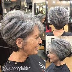 Gray Pixie Bob For Older Women #WomenHairstyles