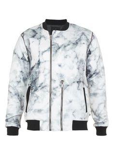 Multi N1SQ Marble Print Bomber Jacket*