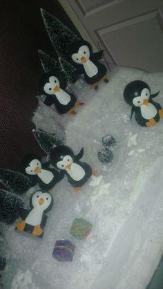 Clay pot craft, penguins at christmas