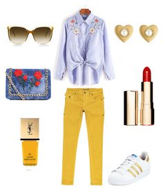 #outfits Welcome March by milena-lister-quevedo on Polyvore featuring polyvore, fashion, style, JIMMY TAVERNITI, adidas, Boohoo, Marc Jacobs, Steven Alan, Clarins, Yves Saint Laurent and clothing