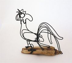 –Rooster wire sculpture.