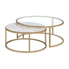 Dimensions: 36 diam. x 16H in. (Large)Dimensions: 26 diam. x 14H in. (Small)Square-tube metal framePolished gold finishLarger table features clear glass topFaux marble top on smaller tableConvenient nesting design. The Acme Furniture Acme Shanish 2 Piece Nesting Coffee Table Set provides a sophisticated pair of matching tables for use in your foyer lounge or living room. The round tables are supported by square-tube metal frames and finished in a dazzling polished gold hue. Nest the smaller…