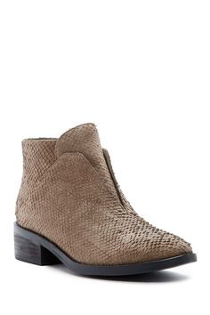 Tuck Textured Siped Almond Toe Bootie