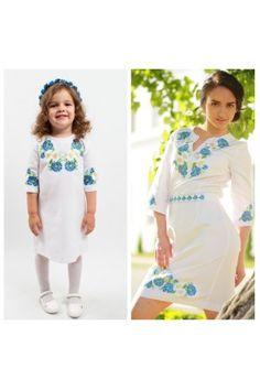 Сімейний комплект для матері та доньки «Волошкові мрії»  – ніжні молочно-білі сукні з волошками та ромашками. Tunic Tops, Women, Style, Fashion, Swag, Moda, Fashion Styles, Fashion Illustrations, Outfits