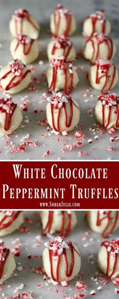Who loves the peppermint flavour of candy cane? If you do then you'll love these simple White Chocolate Peppermint Truffles! Who loves the peppermint flavour of candy cane? If you do then you'll love these simple White Chocolate Peppermint Truffles! Holiday Desserts, Holiday Baking, Holiday Recipes, Thanksgiving Desserts, Holiday Treats, Easy Christmas Candy Recipes, Easter Desserts, Holiday Candy, Holiday Tables