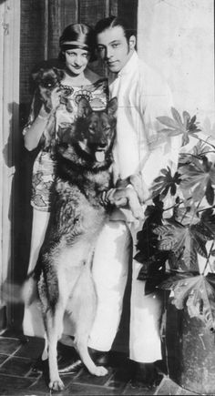 Rudolph Valentino and Natasha Rambova. I know Valentino was a famous movie star, but it's great to see him with his dog!!!