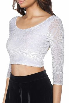 Burned Velvet White 3/4 Sleeve Crop