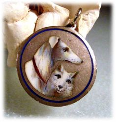 Vintage enamel hand painted cat and dog charm