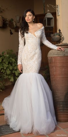 noya bridal riki dalal 2015 style 1111 off shoulder long sleeve lace wedding dress split neckline