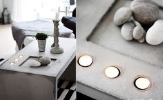 There are all sorts of ways in which you can customize a DIY concrete coffee table. For example, you can include concrete candle holders, trays and all sorts of other features