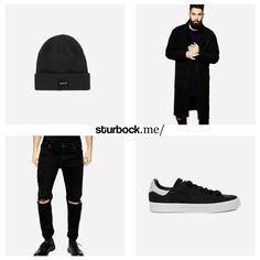 Vintage Black: Langer Mantel, Destroyed-Jeans und adidas Stan Smith. Hier entdecken und shoppen: http://sturbock.me/SOS