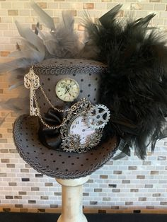 Excited to share this item from my shop: Steampunk Mini Top Hat, Pocket Watches, Gears, and Key Fascinator Steampunk Accessories, Steampunk Clothing, Steampunk Fashion, Fashion Accessories, Steampunk Top Hat, Steampunk Necklace, Gothic Steampunk, Halloween Bride, Unusual Wedding Dresses