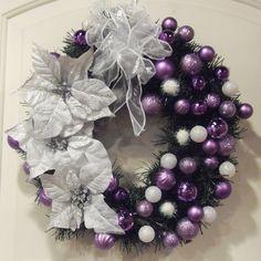 purple, black and white wreath