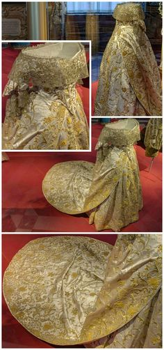 "Coronation dress worn by Queen Caroline Amalie of Denmark, 1840. Dress in three parts, consisting of bodice, skirt and train, all made of white silk satin with heavy gold embroidery. From the exhibition ""1814 - Spillet om Danmark og Norge,"" held at the National History Museum, Frederiksborg Castle (see: http://360-foto.dk/1814/)."