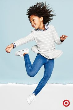 Guarantee some jumps for joy with girls' skinny and stretchy jeans. Recess or gym class or just rocking the hallways, she'll be comfortable, cute and ready to take on the year.