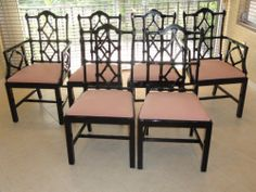 Six Italian Black Lacquer Chinese Chippendale Dining Chairs Stunning Chippendale Dining Room Set Decorating Inspiration