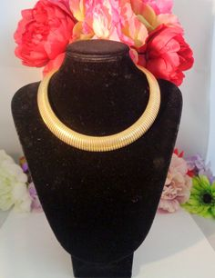 "Vintage LES BERNARD Signed Goldtone Choker that Measures 17 inches Long and is 3/4"" wide. by CCCsVintageJewelry on Etsy"