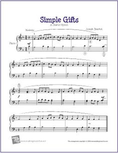 Simple Gifts | Free Sheet Music for Piano Solo