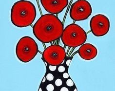 Red Poppies Aqua - Print by Shelagh Duffett of Nova Scotia available on etsy- AliceinParis Dots Free, Arte Floral, Red Poppies, Painting Inspiration, Flower Art, Art Flowers, Art Lessons, Art For Kids, Folk Art