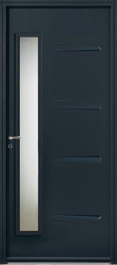 Porte du0027entrée Vitrée grise 90cm poussant droit Porte du0027entrée