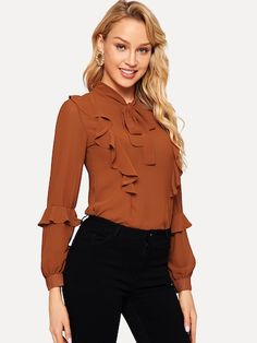 To find out about the Tie Neck Ruffle Trim Top at SHEIN, part of our latest Blouses ready to shop online today! Fashion News, Fashion Outfits, Womens Fashion, Fashion Clothes, Fall Shirts, Dressy Tops, Tie Blouse, Brown Fashion, Ruffle Trim