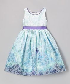 Look what I found on #zulily! Aqua & Purple Butterfly A-Line Dress - Toddler & Girls by L'etoile #zulilyfinds