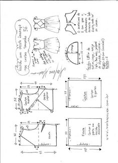 Esquema de modelagem de vestido com decote losango nas costas tamanho 56.