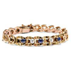 Wenn die Nacht zum Tage wird - Prachtvolles Saphir- & Diamant-Armband in Gold, 1890er Jahre von Hofer Antikschmuck aus Berlin // #hoferantikschmuck #antik #schmuck #antique #jewellery #jewelry // www.hofer-antikschmuck.de