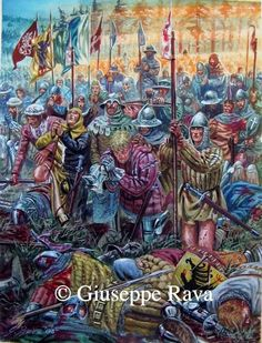Battle of Sempach, 9 July 1386 Medieval Knight, Medieval Art, Renaissance Art, Military Art, Military History, Medieval Drawings, High Middle Ages, Landsknecht, Knights Templar