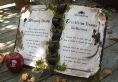 ~~ EVIL QUEEN ~~ Queen Grimhildes Spell Book Featuring Sleeping Death And Beauty to Ugliness Spells Faux Aged Book with Curled Pages Moss Trimmed Halloween Spell Book, Halloween Spells, Halloween Themes, Halloween Decorations, Halloween Halloween, Halloween Makeup, Halloween Costumes, Maleficent Party, Snow White Wedding