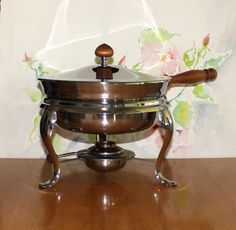 Gorgeous Vintage, 6 Piece Stainless Chafing Dish, Eames Era, Fondue Set by cocoandcoffeevintage