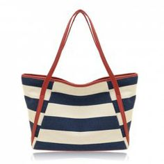 $15.15 Casual Women's Shoulder Bag With Stripe and Canvas Design