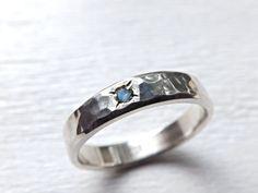silver engagement ring silver wedding band by CrazyAssJD on Etsy