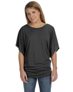 Bella 8821 Ladies Flowy Draped Sleeve Dolman T-Shirt at Amazon Women's Clothing store: