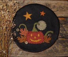 Primitive Jack O Lantern Halloween Penny Rug Vintage Buttons Fall Candle Mat | eBay